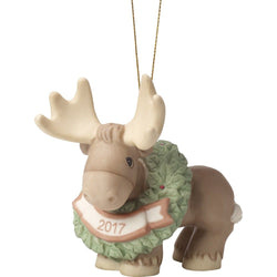 Merry Christmoose - Dated 2017 Animal, Bisque Porcelain Ornament  - Country N More Gifts