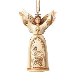 Ivory and Gold Nativity Angel Ornament  - Country N More Gifts