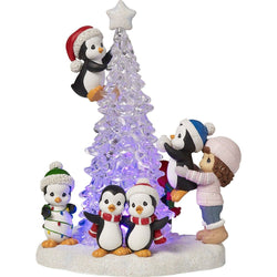 Tree-mendous Fun - Girl With Penguins Decorating LED Tree Figurine  - Country N More Gifts