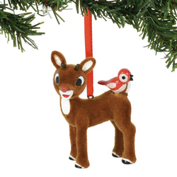 Rudolph w/ Birds flocked Orn.  - Country N More Gifts