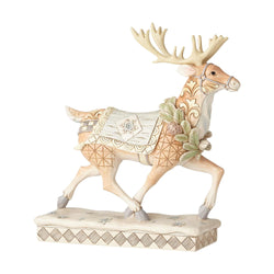 White Woodland Running Reindeer  - Country N More Gifts