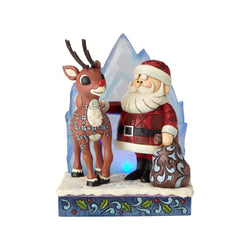 Lighted Rudolph And Santa With Iceberg  - Country N More Gifts