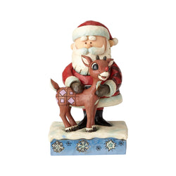 Lighted Rudolph And Santa With Iceberg - Santa Hugging Rudolph  - Country N More Gifts