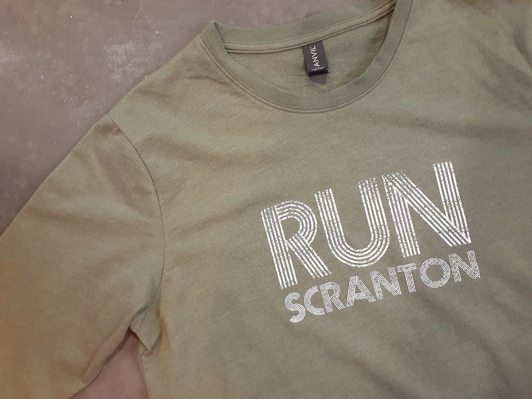 Unisex Run Scranton Long Sleeve Crewneck in Olive Green