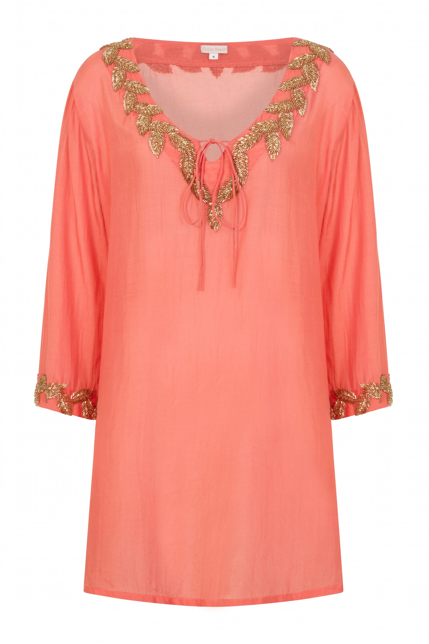 Sirena shirt style designer kaftan (hand beaded) orange - Guilty Beach