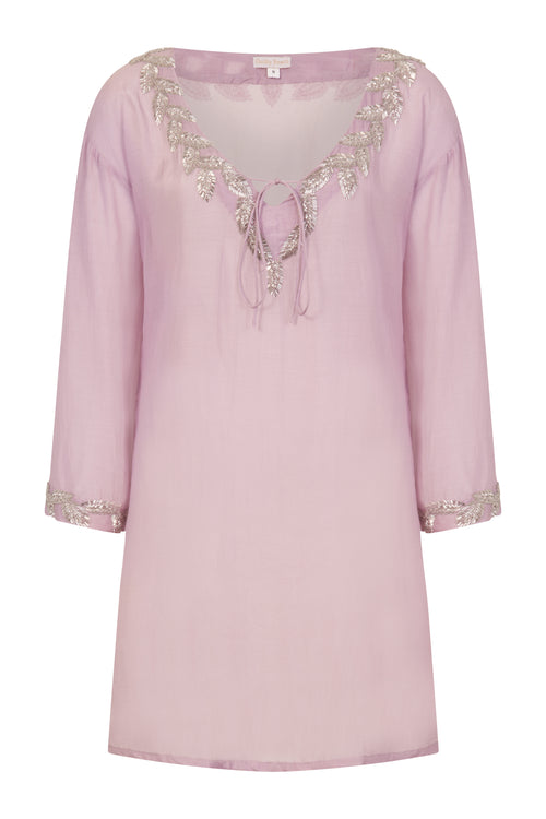 Sirena shirt style designer kaftan (hand beaded) Lilac - Guilty Beach