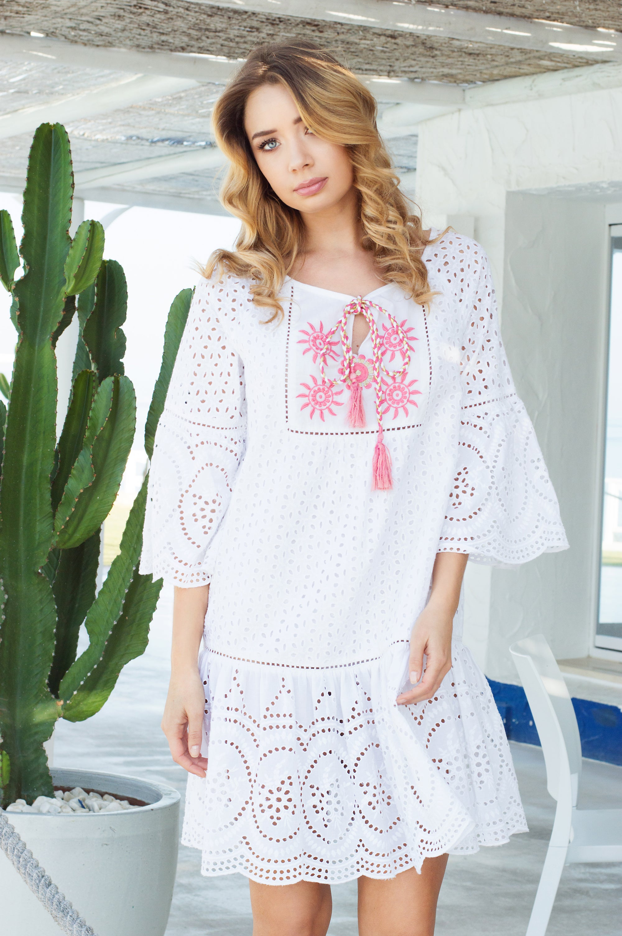 La Campana designer lace cotton dress/ beach cover up - Guilty Beach
