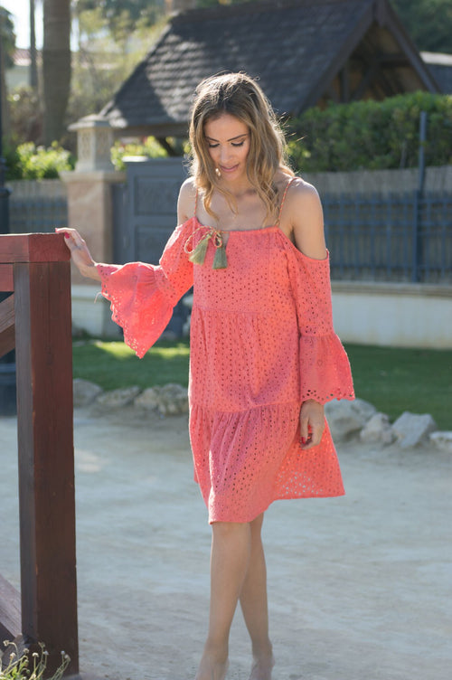 Estepona lace cotton beach dress (orange) - Guilty Beach