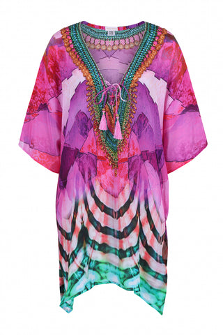 Sirena shirt style designer kaftan (hand beaded) orange