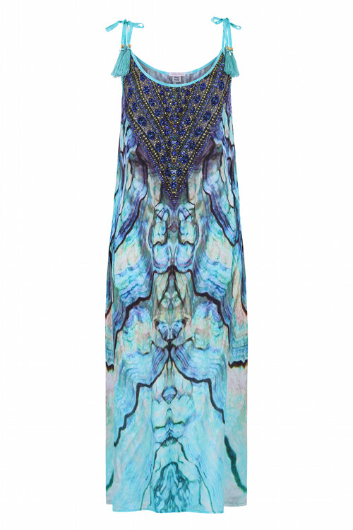 Blue shell printed maxi dress - Guilty Beach