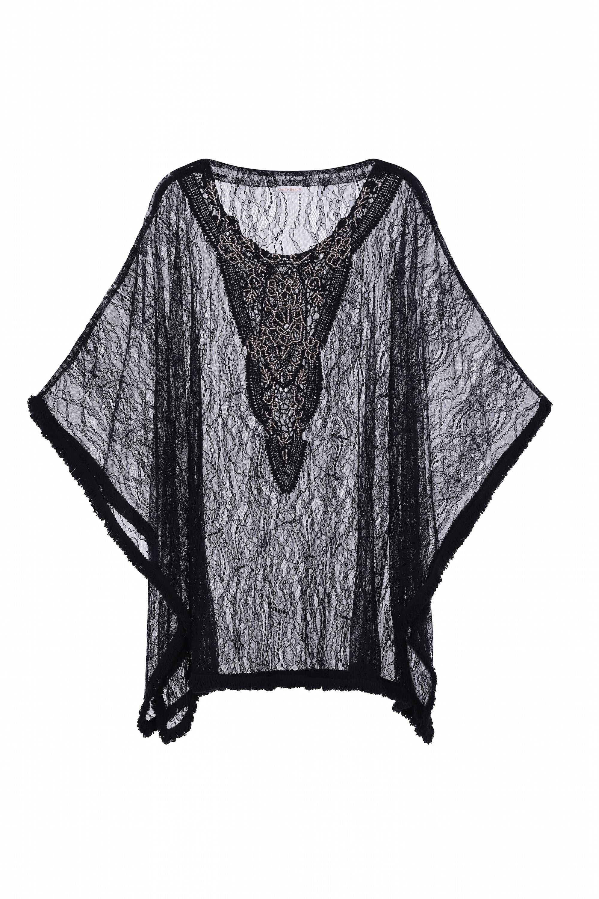 Mijas lace handed beaded kaftan in black - Guilty Beach