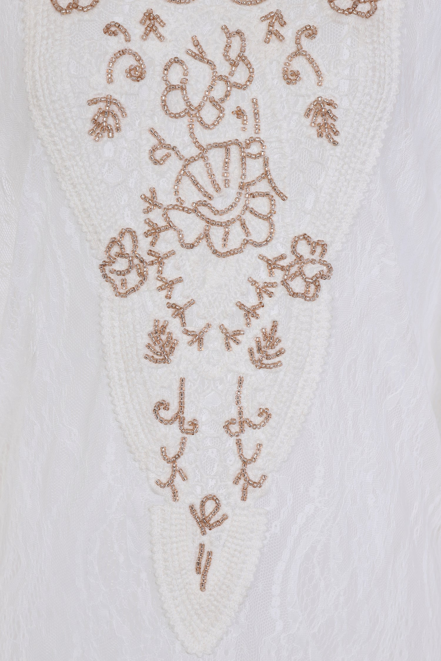 Mijas lace handed beaded kaftan in white - Guilty Beach