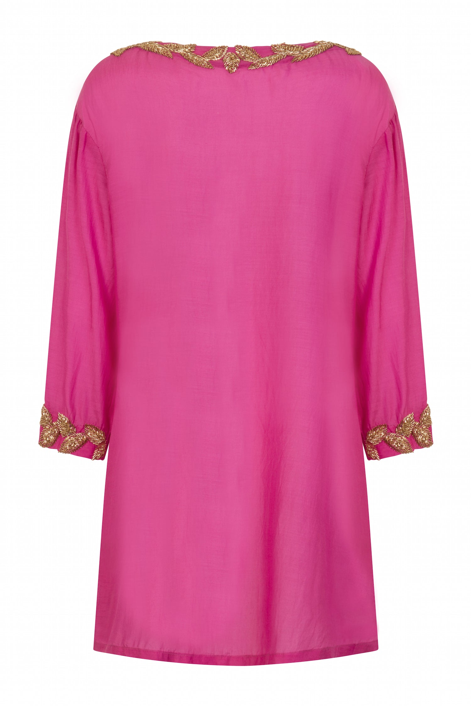 Sirena shirt style designer kaftan (hand beaded) pink - Guilty Beach