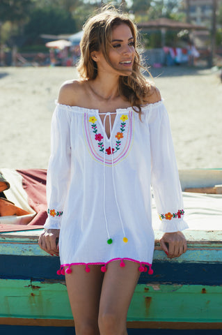 Marbella designer kaftan cotton top/ beach cover up