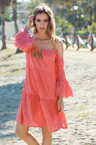 Pink coral reef printed maxi dress
