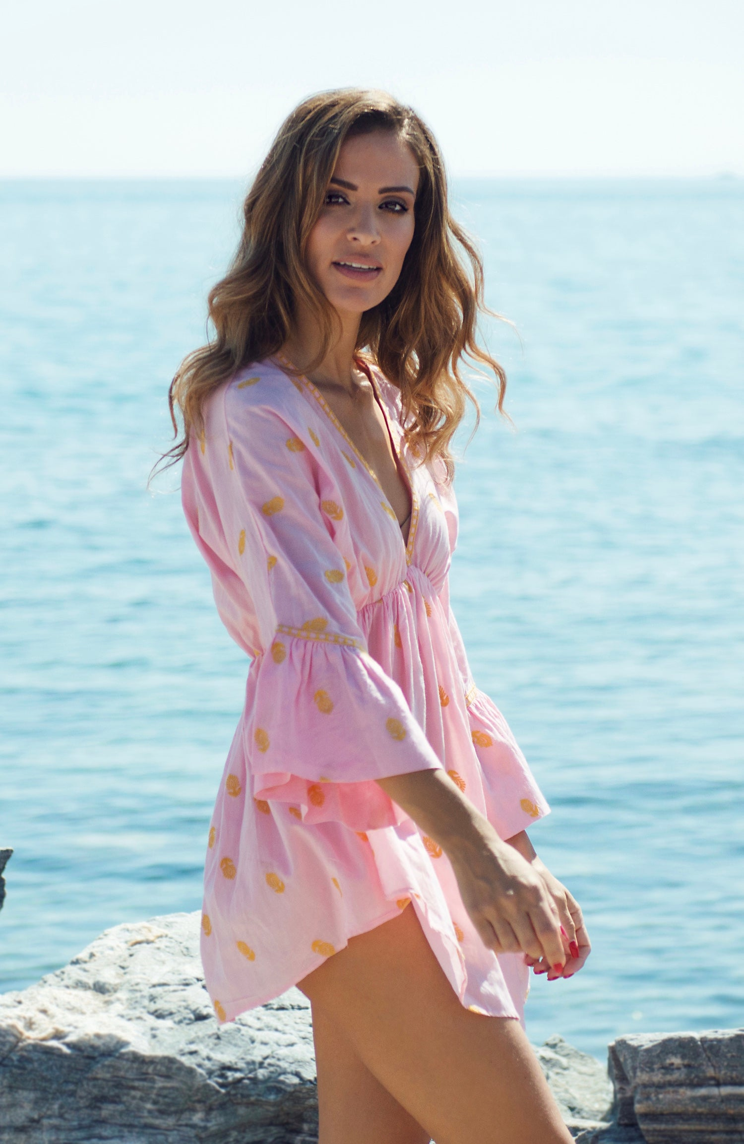 Marbella designer kaftan cotton top/ beach cover up (pink) - Guilty Beach