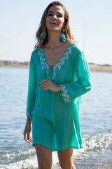 Sirena shirt style designer kaftan (hand beaded) Aqua - Guilty Beach