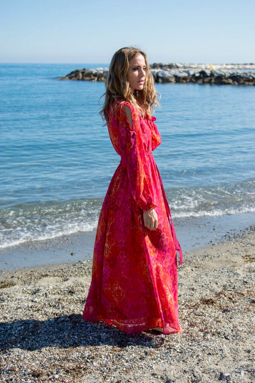 Preciosa maxi dress (orange and pink) - Guilty Beach