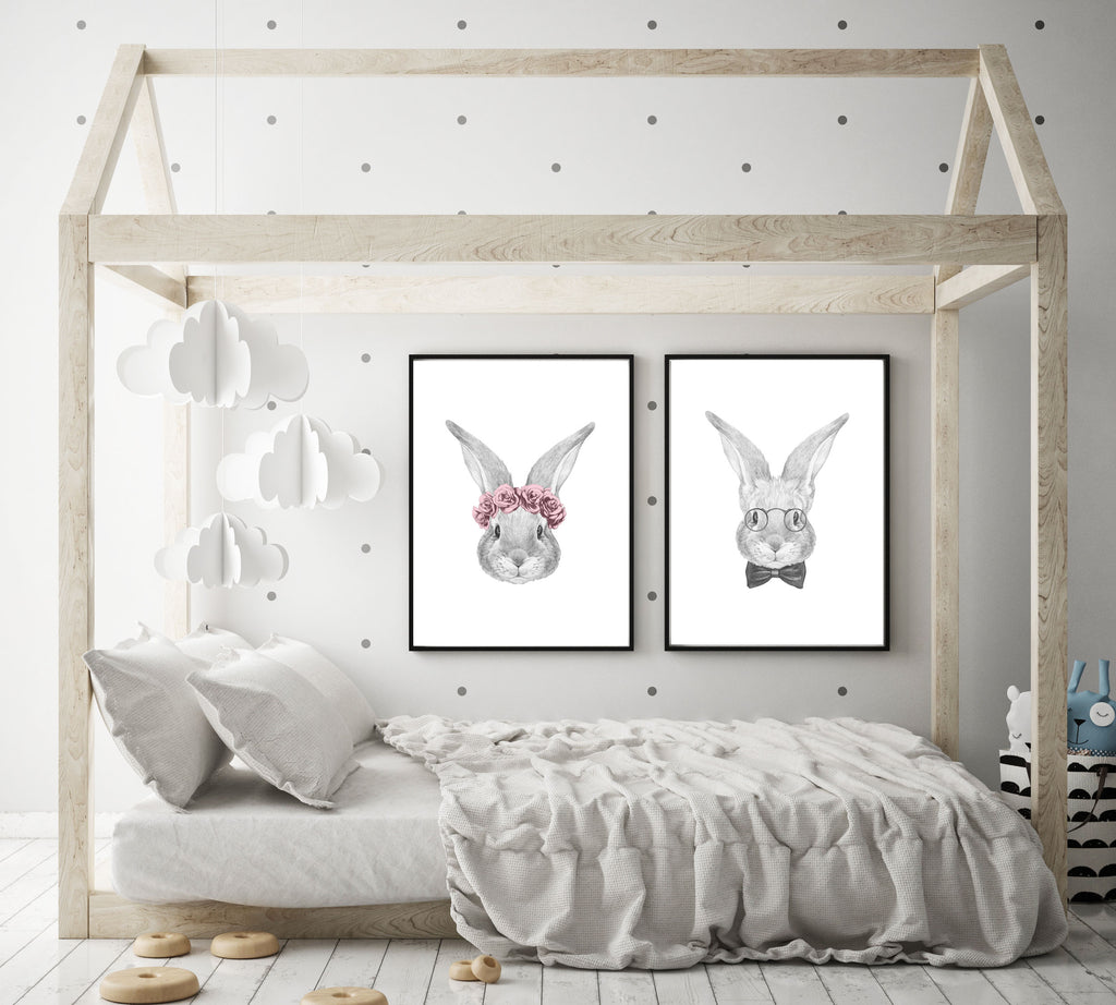 Mr and Mrs Rabbit- set of 2 - Papercut Prints