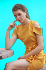THE BIBI RUFFLE DETAIL DRESS IN MUSTARD