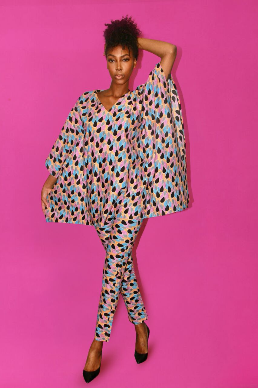 TEARDROP PRINT TOP  (AGBADA TOP ONLY)