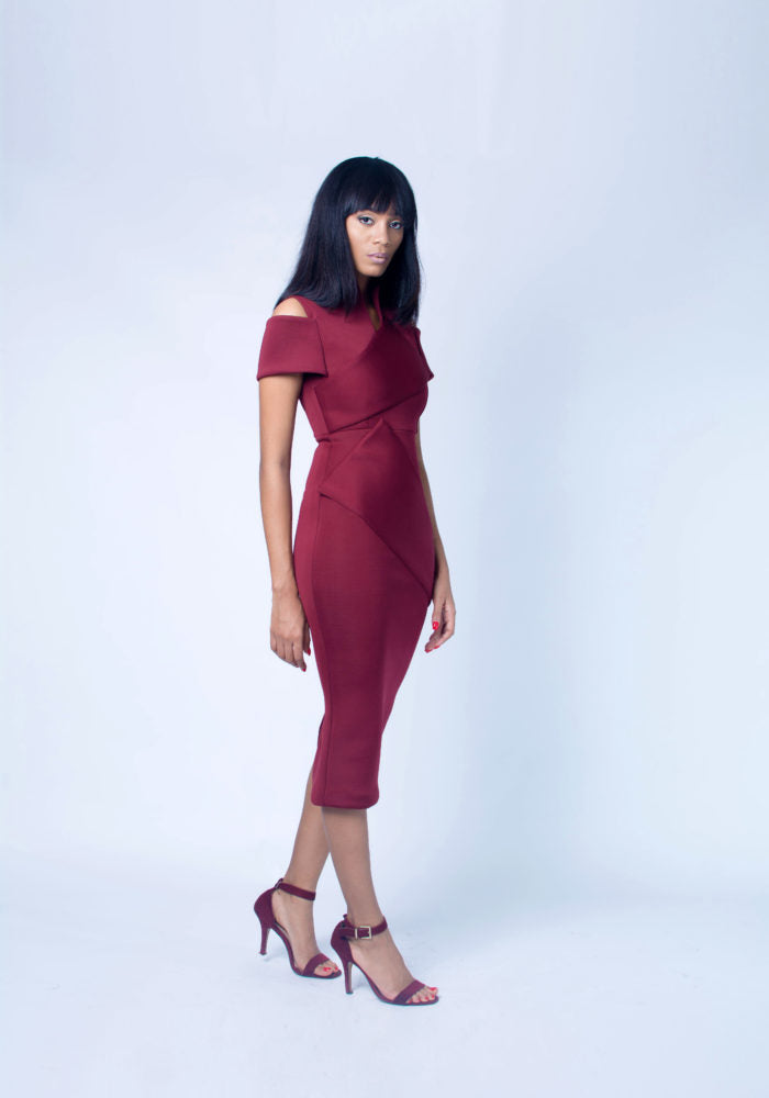 THE HALIMA DRESS IN BURGUNDY