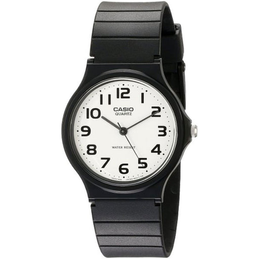 Casio  MQ-24-7BLL  -  Mens Watch with White Dial Analougue Display and Black Resin Strap