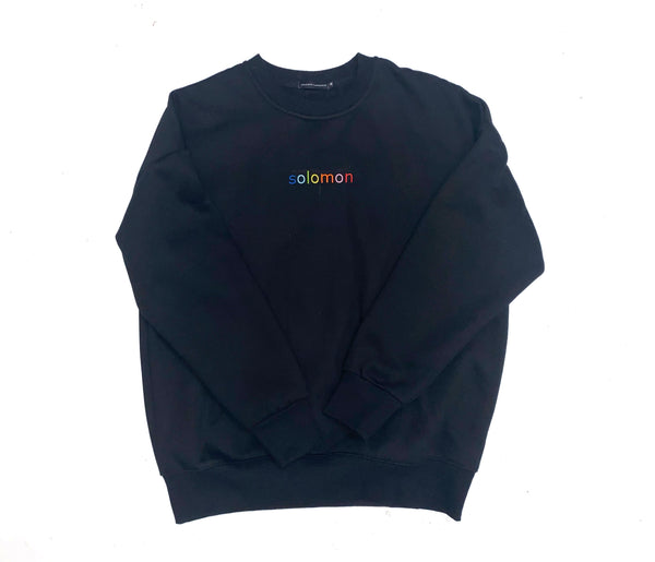 SL Embroidered Crewneck in Retro Black