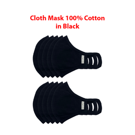 Cloth Mask 100% cotton in black. (4706677522510)