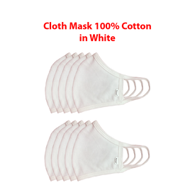 Cloth Mask 100% cotton in white. (4679951777870)
