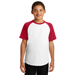 YT201 Sport-Tek® Youth Short Sleeve Colorblock Raglan Jersey (1440031670314)
