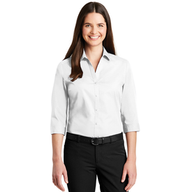 LW102 Port Authority® Ladies 3/4-Sleeve Carefree Poplin Shirt (1570112765994)