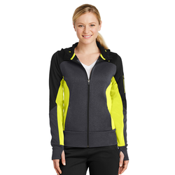 LST245 Sport-Tek® Ladies Tech Fleece Colorblock Full-Zip Hooded Jacket