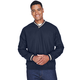 8926 UltraClub Adult Long-Sleeve Microfiber Crossover V-Neck Wind Shirt (1770856480810)