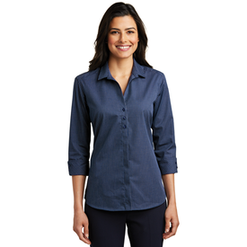LW643 Port Authority® Ladies 3/4-Sleeve Micro Tattersall Easy Care Shirt (1570134229034)