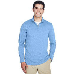 8618 UltraClub Men's Cool & Dry Heathered Performance Quarter-Zip