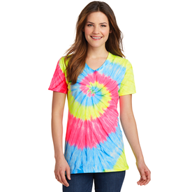 LPC147V Port & Company® Ladies Tie-Dye V-Neck Tee (1871095332906)