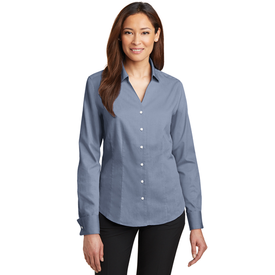 RH63 Red House® - Ladies French Cuff Non-Iron Pinpoint Oxford Shirt (1562210893866)