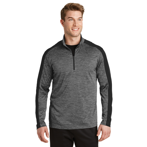 93657a2b ST397 Sport-Tek® PosiCharge® Electric Heather Colorblock 1/4-Zip Pullover