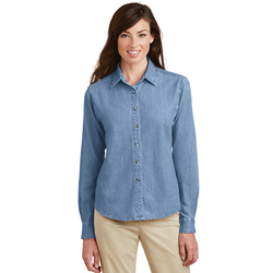 LSP10 Port & Company® - Ladies Long Sleeve Value Denim Shirt