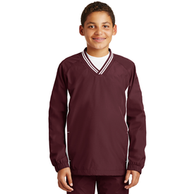 YST62 Sport-Tek® Youth Tipped V-Neck Raglan Wind Shirt (1570998288426)
