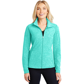 L235 Port Authority® Ladies Heather Microfleece Full-Zip Jacket (1878435987498)