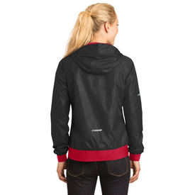 LST53 Sport-Tek® Ladies Embossed Hooded Wind Jacket (1550503673898)