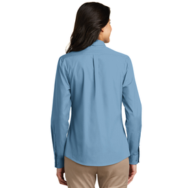 LW100 Port Authority® Ladies Long Sleeve Carefree Poplin Shirt (1569169637418)