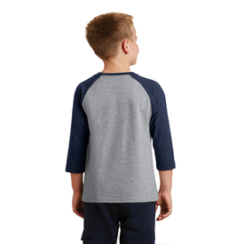 PC55YRS Port & Company® Youth Core Blend 3/4-Sleeve Raglan Tee (1430838542378)