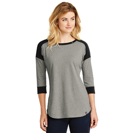 LNEA104 New Era® Ladies Heritage Blend 3/4-Sleeve Baseball Raglan Tee (1449195503658)