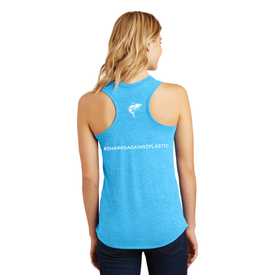 NSU ® - Ladies Shark Against Plastic Racerback Tank (1786490388522)