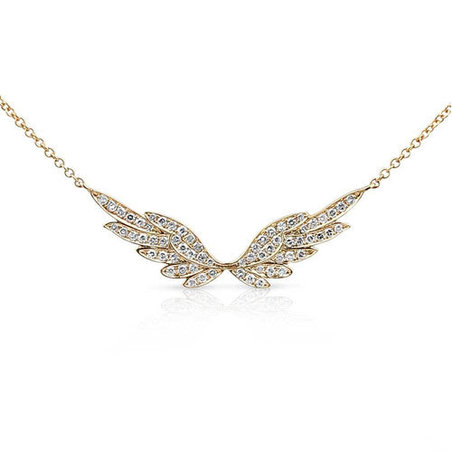 Gold Halo Diamond Angel Wing Necklace #AngelLoveXSALT