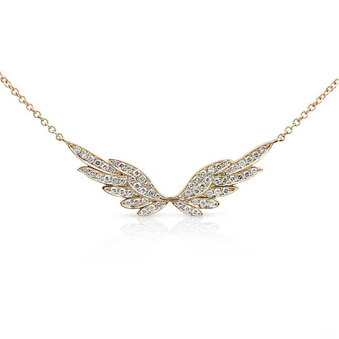 Gold Halo Diamond Angel Wing Necklace