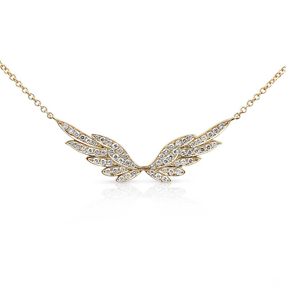 Gold Halo Diamond Angel Wing Necklace SOLD OUT